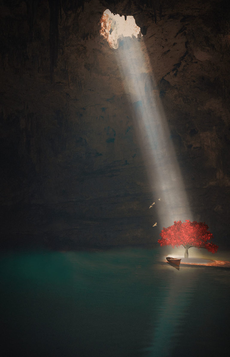 Graphic art with hole in cave shining on red tree