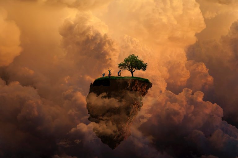 Floating island graphic art
